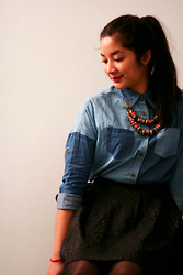 Les Placards de Mora - New Look Necklace, Tidebuy Shirt, Pimkie Skirt - Denim