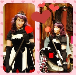 Panda Buman - Angelic Pretty Marionette Girl Jsk, Putumayo Diamond Suit Socks, Alice And The Pirates Ribbon Blouse, Vivienne Westwood Necklace - Queen of Hearts