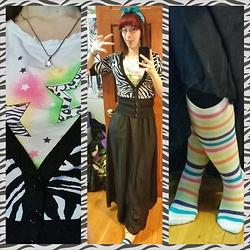 Danielle B. - Turquoise Bandana, 80s Licious T Shirt, Zebra Striped Cardigan, Dresslink Black Maxi Skirt, Neon Stripey Knee Socks - I Had a Lollipop - Fixed! -