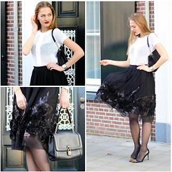 Floortje Van Cooten - Oasap Skirt, Zapa Top, Wolford Tights, Gucci Pumps, Dolce & Gabbana Bag, Bourjous Lips - BLACK ROSES