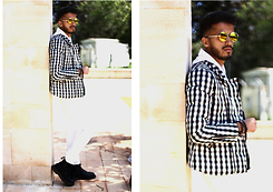 Ali Sabih - Moooh Sunglass, Frontrowshop Jacket, Zara Pant, Dr. Martens Boots - Gold and white