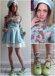 "Nina Andrew P - Socks ""Cupcakes"", Bodyline Blue Skirt And Hat, Bodyline Green Shoes, H&M Ice Cream Top - The Icewoman"