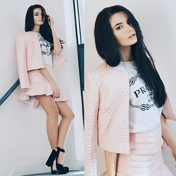Lolita Mas - Lashes Of London Crop Jacket, Lashes Of London Flippy Skirt - Pink Print