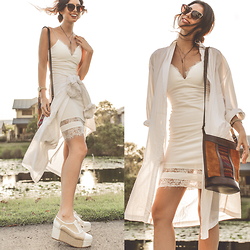Elle-May Leckenby - Ivory Slip Dress, Beara Beara Sling Bag - Layers of white
