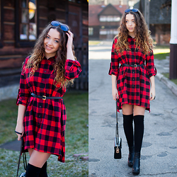 Gabriela Grębska - Sheinside Dress, H&M Over Knee Socks, Chic Wish Boots, Dressve Bag - Checked dress