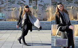 Taylor Doucette - Marc By Jacobs Black Sunglasses, Forever 21 Boucle Wool Coat, Zara Suede Riding Boots, Marc By Jacobs Checkered Scarf, Grey Gunmetal Purse - Stay Here Forever- Jewel