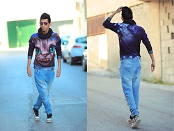 Hamza Rouah - Romwe Devil Cat, Nike Air Force, Pull & Bear Biker Jeans - Devil Cat