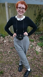 Louise Vivian - Black Long Sleeved T Shirt, Topshop Shirt, Vintage Trousers, Charity Shoes Brogues - Photographer Aesthetics
