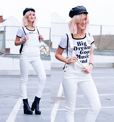 Mikuta - H&M Dungarees, Depeche Boots, H&M Tshirt, Mango Hat - White dungarees and big dreams
