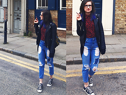 Patrycja Kempa - Pull & Bear Jeans, Converse Shoes, Second Hand Shirt, Pull & Bear Real Leather Jacket - If you hate it, then I say tut tut tut.