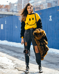 Gizele Oliveira - See You Monday Top, Monki Jacket, Jeffrey Campbell Boots - Smiley