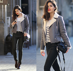Adriana Gastélum - Glamorous Shearling Grey Jacket, Choies Striped Knit, Proenza Schouler Ps11 Classic - Wo-man