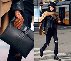 Chaby H. - Navona Fashion Camel Poncho, H&M Leather Biker Jacket, Sarolt Leather Clutch, Vintage Ripped Jeans, Leather Biker Gloves, Masamod Black Fedora Hat - Camel with black