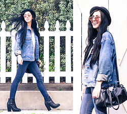 Chelsea Den - H&M Bowlers Cap, Ray Ban Sunnies, Second Hand Denim Jacket, H&M Denim, Black Boots - Denim Days