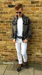 Jolyon Winter - Mango Sunglasses, Michael Bastian Full Zip Sweater, Gant Jeans, Red Wing Boots, Levi's® Belt - Too much white?