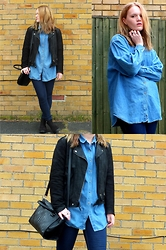 Alice - Just Jeans Jacket, H&M Jeans, Primark Boots, Next Bag, Charity Shop Oversized Denim Shirt - Double D