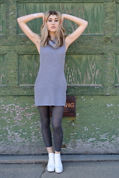 Dani Mikaela McGowan - Style Moi Sweater Dress, Steve Madden White Booties - Spring Neutrals