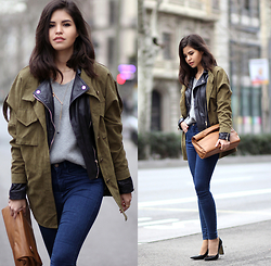 Adriana Gastélum - Sheinside Green Parka, Sheinside Grey Knit, Zara Snack Clutch - Reciclyng ideas