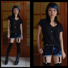 Nowaki Selenocosmia - Promod Black T Shirt, Bershka Denim Shorts, H&M Black Socks, Black Boots - Rock it baby !