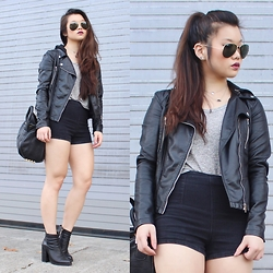 Amy Ha - Ray Ban Aviators, Markkit Duet Necklace, Forever 21 Tank, Forever 21 High Waisted Shorts - Biker Chic(k)