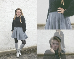 Izzy McLeod - Urban Outfitters Fluffy Crop Jumper, Dahlia Fluffy Skater Skirt, Kerol D Silver Platforms, H&M Bowler Hat - Feel a significance in the real world