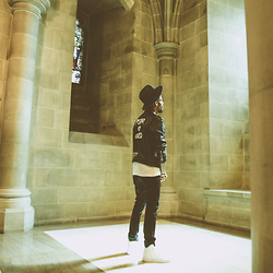 "Tony Logan - Dior Homme Thrift Leather Jaket, Nudie Jeans Denim, Nike High Tops, National Cathedral - ""Fear Of God"""