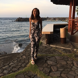 Marah Saliot - F&F Clothing Jumpsuit, Birkenstock Slippers - By the beach
