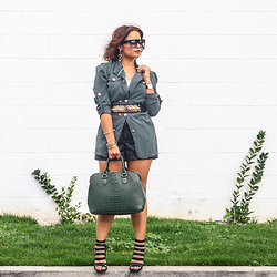 Claudia Felix Garay - Ebay Black Sunglasses, Ebay Green Army Coat, Loveculture Black And Gold Belt, Forever 21 Black Pleather Shorts, Justfab Green Bag, Lolashoetique Black Strap Heels - Green Coat & Pleather Shorts