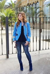 A TRENDY LIFE - The Extreme Collection Chaqueta, Mango Jeans, Michael Kors Bolso, Mustt Shoes Botines - Blue Military Jacket