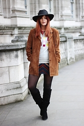 Leigh Travers - Vintage Suede Jacket, Sugarhill Boutique Jumper, Marc By Jacobs Skirt, New Look Boots - SUEDE SISTER.
