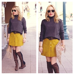 Zia Domic - United Colors Of Benetton Suede Skirt, Vince Camuto Turtleneck - Renegade