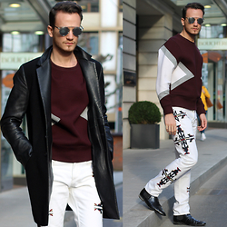 I N F A S H I O N I T Y a style story - Neil Barrett Burgundy Sweater, Isabel Marant Patterned White Jeans, Christian Dior So Real - MARANT