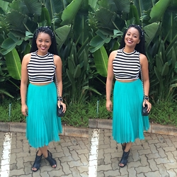 Khanyi L Ndlovu - River Island Croptop, Bershka Midi Skirt, Topshop Cut Out Boots, Chanel Bag - BSK