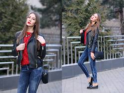 Diana Guţu - Mango Leather Jecket, Mango Bag, Zara Jeans, Hotic Shoes, Koton Necklace - Rock with Touch of Red