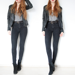 Reingeschlüpft - Zara Leather Jacket, Zara Top, H&M High Waist Jeans, Zara Boots - High waist twins
