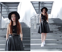 Jolene Cheng - Forever 21 Leather Midi Skirt, Fedora, Ray Ban Black Shades, Nike Air Force - Black