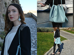 Sofia Marques - Bijoubrigitte Earrings, Blanco Blazer, Parfois Bag, Zara Lace Top, H&M Loafers, Zara Pants - Baby Blue
