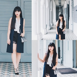 Rachel Koh - Zara Long Tailored Waistcoat, Zara White Chiffon Top, Topshop Lace Trim Shorts, Prada Alma Mini In Chrome, New Look Double Strap Stiletto - Colonial Charm
