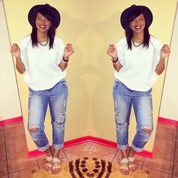 Khanyi L Ndlovu - Zando Wide Brim Hat, Zara Jumper, New Look Ripped Boyfriend Jeans, Zando Tan Sandals - Easy Breezy