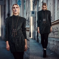 Agnes Krown - Thrifted Velvet Dress, Zara Chinese Inspired Necklace, Topshop Leggings, Yru Platform Sneakers - New age lady
