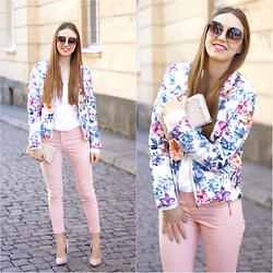 Natalia Przała - New Yorker Flower Jacket, Reserved Pastel Pants, Orsay Bag - Flower Power