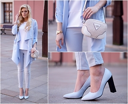 Estelle Fashion - Mohito Coat, Mohito Shoes, Guess? Bag, Mohito Pants, Lorus Watch, Mohito Blouse - Baby blue look