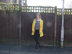 Courtney Melville - New Look Coat, New Look Top, New Look Skirt, River Island Shoes - They call it mellow yellow