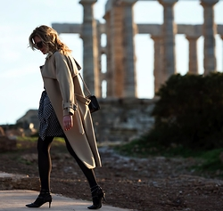 Nina Papaioannou TRENDSURVIVOR - Finery London Camel Coat, Isabel Marant Black And White Silk Dress, Valentino Kitten Heel T Strap Shoes, Chanel Shoulder Bag - We Are Finery