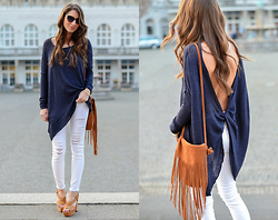 Stephanie Van Klev - Chanel Sunnies, Free People Backless Shirt, Frame Skinny Jeans, L'autre Chose Plateau Sandals, Nat & Nin Fringe Bag - Backless
