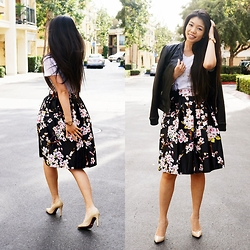 Josephine Ellen - Piperlime Top, Elite99 Skirt, Mango Jacket, Issac Mizrahi Heels - Cherry Blossoms