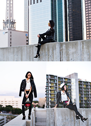 Eunice Kim - Judgemental 22 Rose Snapback, Shoemint Gwen Pointed Toe Low Cut Booties, Nasty Gal On The Kisser Bag, Zara Zipper Detail Vegan Leather Moto Jacket, Zerouv Retro Mirror Reflective Sunglasses, Nasty Gal Cecilia Crepe Crop Top, Vibrant Miu Distressed High Waisted Jeans - New Cuts