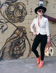 Suzi West - Estate Sale Vintage Hat, Forever 21 Sunglasses, Shantel Niblock Earrings, H&M Blazer, Forever 21 Crop Top, Bdg High Waist Skinny Jeans, Nyctlt Rubber Chicken Purse, Juju Footwear Jelly Sandals - 21 March 2015