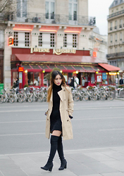 Rosa Pel - H&M Trench Coat, Tara Jarmon Thigh High Boots - Place de la République