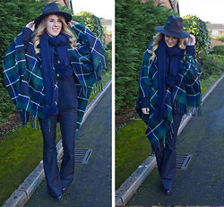 Robyn C - New Look Blanket Shawl, Topshop Jeans, New Look Hat - BLUE CHECKS